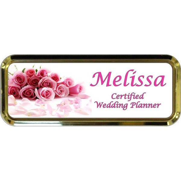 "Gold Plastic 1"" x 3 Name Badge with Round Corners"