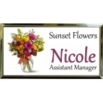 "Gold Plastic 1 1/2"" x 3 Name Badge with Square Corners"