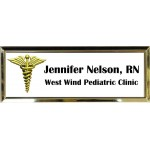 "Gold Plastic 1"" x 3 Name Badge with Square Corners"