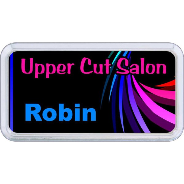 "Silver Plastic 1 1/2"" x 3 Name Badge with Round Corners"