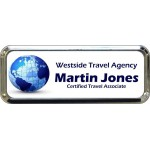 "Silver Plastic 1"" x 3 Name Badge with Round Corners"