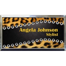 """Silver Plastic 1 1/2"""" x 3 Name Badge with Square Corners"""
