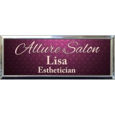 """Silver Plastic 1"""" x 3 Name Badge with Square Corners"""