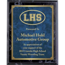 Economy Engraved Wall Plaque with blue marble brass plate