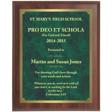 Economy Engraved Wall Plaque with green marble brass plate