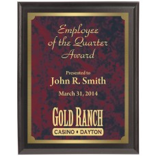 Economy Engraved Wall Plaque with red marble brass plate