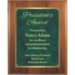 Premium Solid Hardwood Plaque with Engraved Green Patina Marble Brass Plate