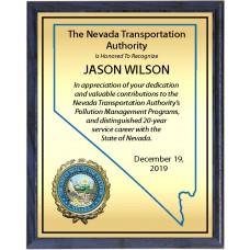 Heat Transfer Plaque, Gold Plate, Raised Medallion Holder, Nevada Theme