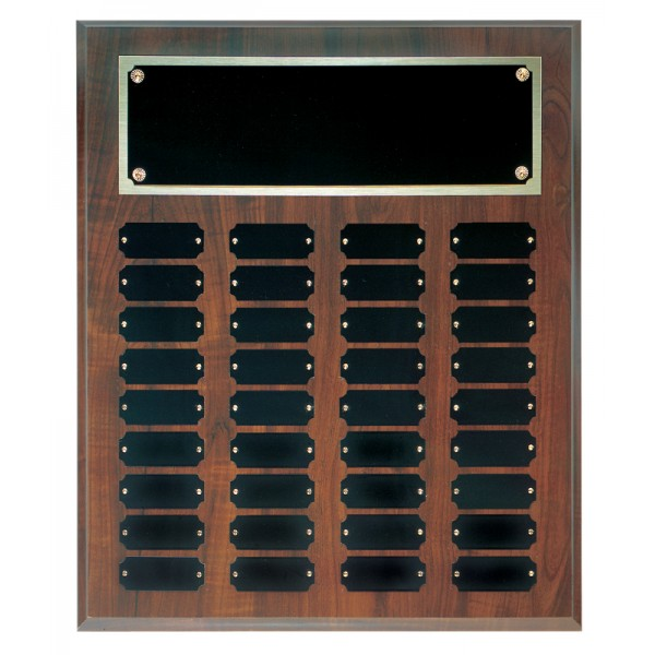 """15"""" x 18 Cherry Finish Completed Perpetual Plaque with 36 Plates"""