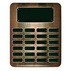 24 Plate Genuine Walnut Elliptical Edge Completed Perpetual Plaque