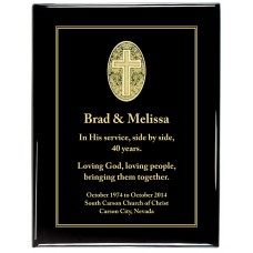 Glossy Black Piano Finish Premium Plaque with black Cross Designer Plaque Plate
