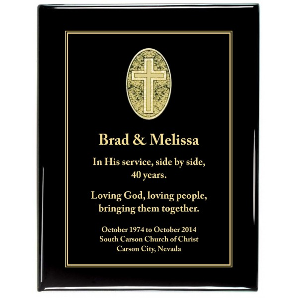 Glossy Black Piano Finish Premium Plaque with black Cross Designer Plaque Plate