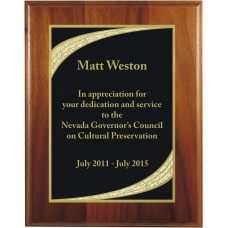 Genuine Walnut Plaque with Majestic Designer Plaque Plate