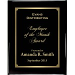 Premium Solid Hardwood Plaque with Engraved Black Brass Plate