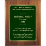 Premium Solid Hardwood Plaque with Engraved Green Brass Plate