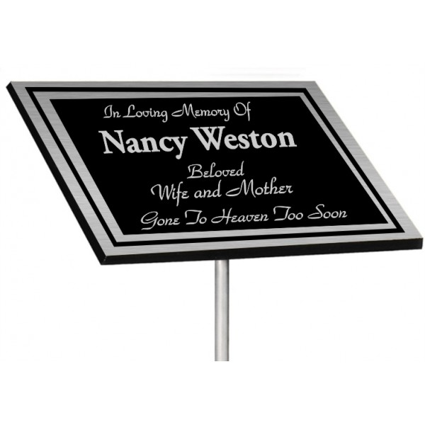 Silver cast aluminum stake-mount plaque