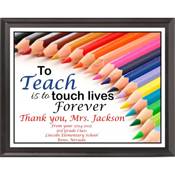 Colored Pencils Teacher Plaque