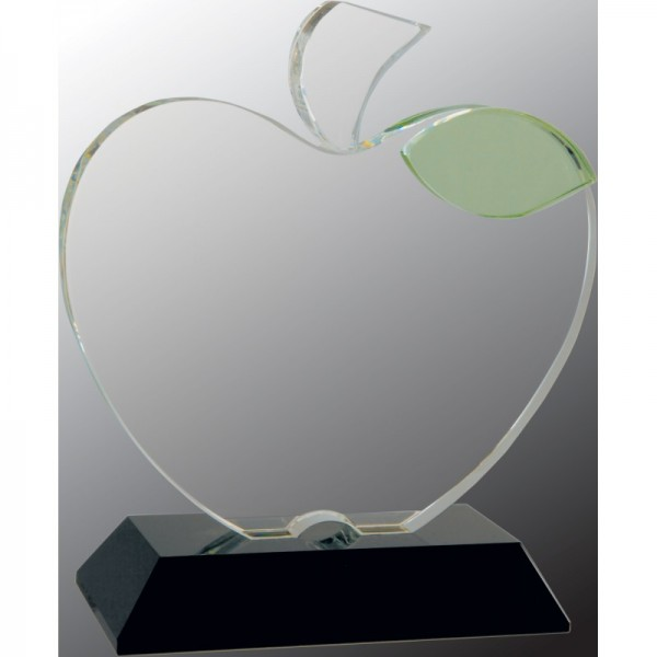 Crystal Apple with Green Crystal Stem Leaf