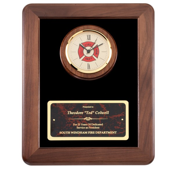 American Tribute Series Firefighter Plaque Clock