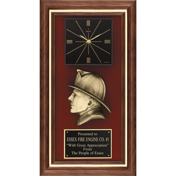 Cast Bronze Firefighter Profile Plaque Clock