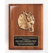 """Walnut """"To Serve and Protect"""" Firefighter Plaque"""