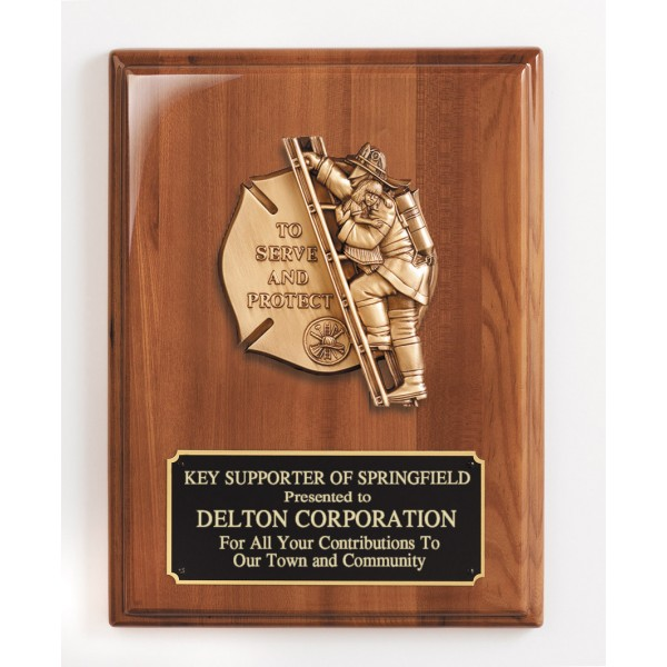 "Walnut ""To Serve and Protect"" Firefighter Plaque"