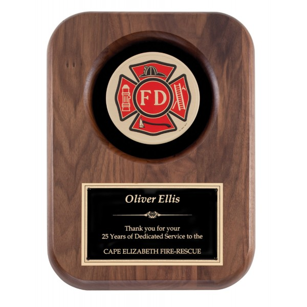 Walnut Firefighting Insignia Plaque