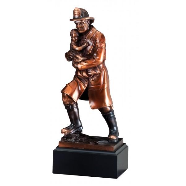 Fireman Rescuing Child Resin Award