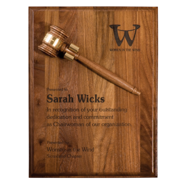 "9"" x 12"" Step Edge Genuine Walnut Plaque with 8"" Gavel"