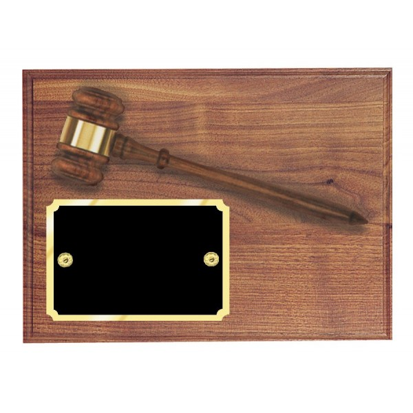 Genuine Walnut Gavel Plaque