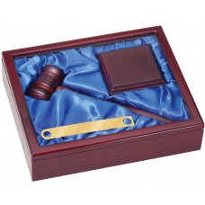 Gavel Set with Wood and Glass Presentation Case