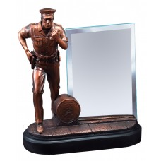 Police Officer In Action With Glass Engraving Plate