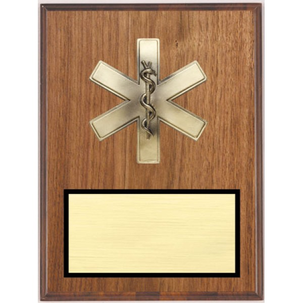 Walnut Star of Life Plaque