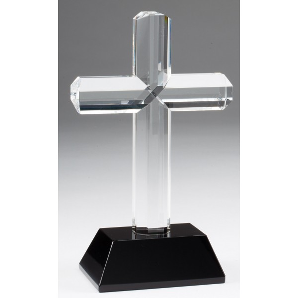Clear Crystal Cross on Black Crystal Base