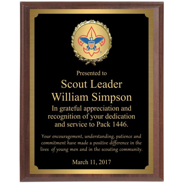 Boy Scout Wall Plaque with black brass plate BSP2