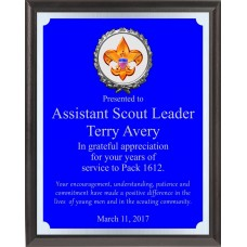 Engraved Blue And Silver Boy Scout Plaque BSP4