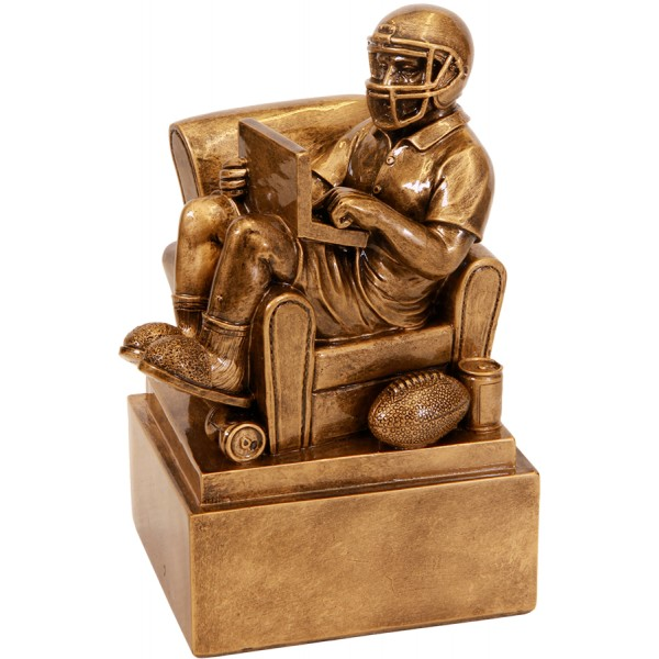 Antique Gold Fantasy Football Man in Chair, 6""