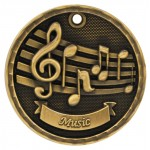 2 inch 3D Music Medal with Neck Ribbon