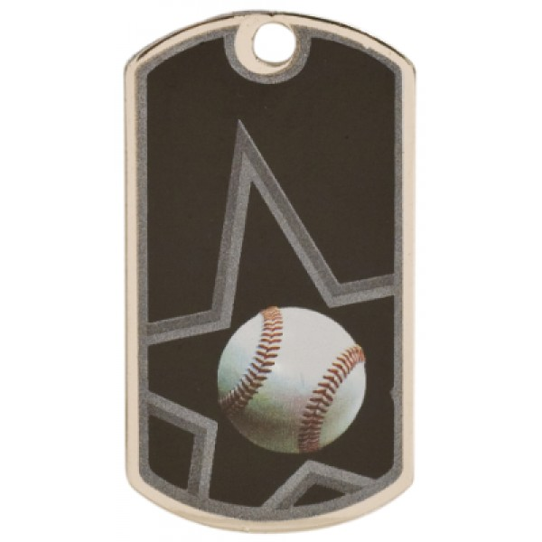 2 inch Black-Silver Baseball Star Dog Tag