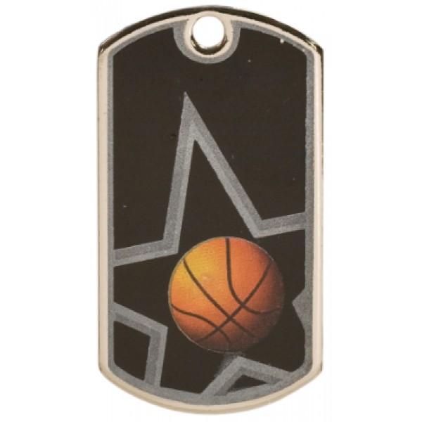 2 inch Black-Silver Basketball Star Dog Tag