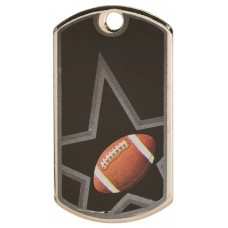 2 inch Black-Silver Football Star Dog Tag