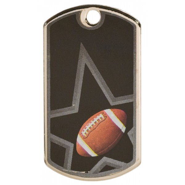 2 inch Black-Silver Football Star Dog Tag