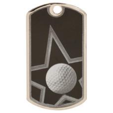 2 inch Black-Silver Golf Star Dog Tag
