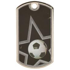 2 inch Black-Silver Soccer Star Dog Tag