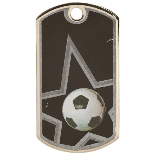 2 inch Black-Silver Soccer Star Dog Tag