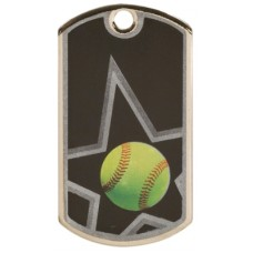 2 inch Black-Silver Softball Star Dog Tag
