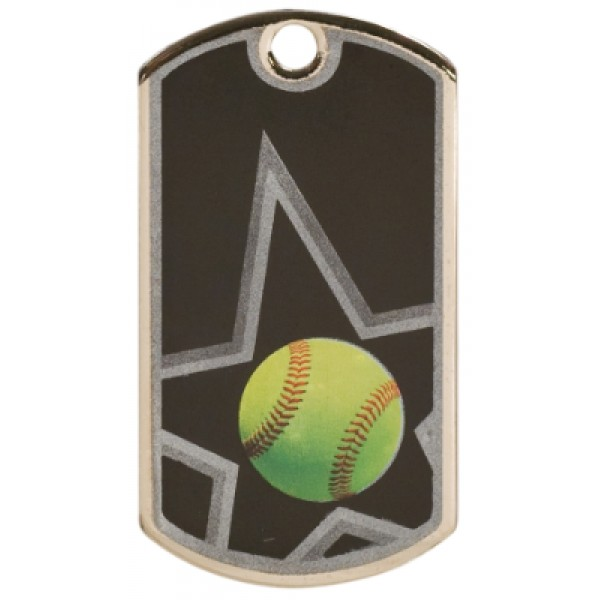 2 inch Black-Silver Softball Star Dog Tag