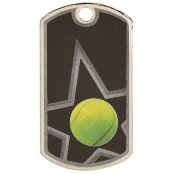 2 inch Black-Silver Tennis Star Dog Tag