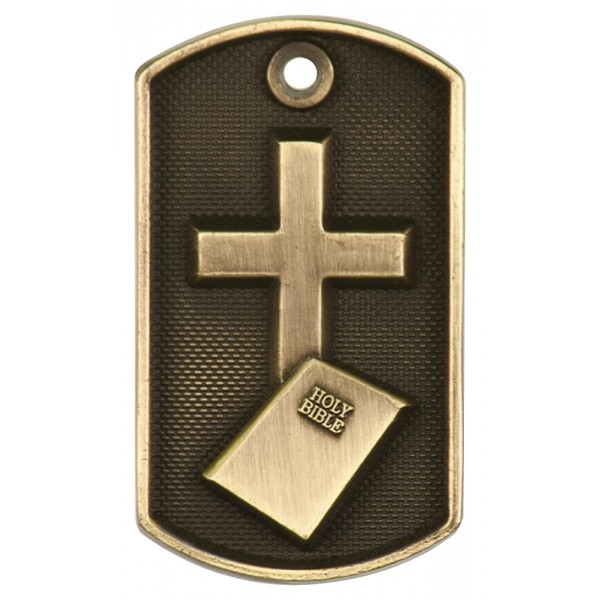 3D Bible and Cross Dog Tag