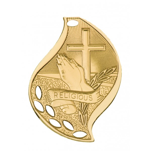 2 1/4 inch Christian Flame Medal with Neck Ribbon
